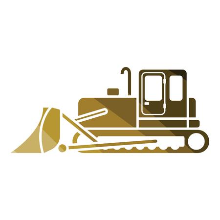 Icon of Construction bulldozer. Flat color design. Vector illustration.