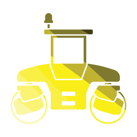 Icon of road roller. Flat color design. Vector illustration.