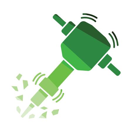 Icon of Construction jackhammer. Flat color design. Vector illustration.  イラスト・ベクター素材