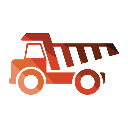 Icon of tipper. Flat color design. Vector illustration. Vectores