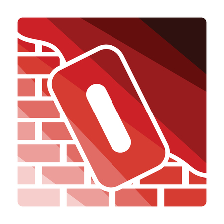 Icon of plastered brick wall . Flat color design. Vector illustration. Illustration