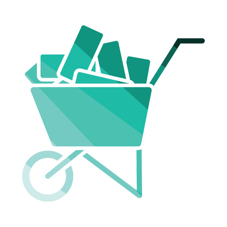 Icon of construction cart . Flat color design. Vector illustration.