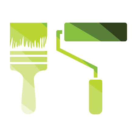 Icon of construction paint brushes. Flat color design. Vector illustration. 向量圖像