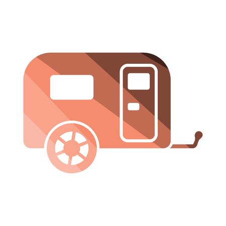 Camping family caravan car  icon. Flat color design. Vector illustration.