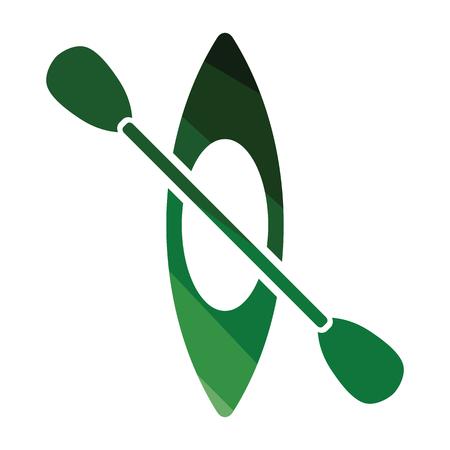 Kajak en peddel pictogram. Egaal kleurontwerp. Vector illustratie. Vector Illustratie