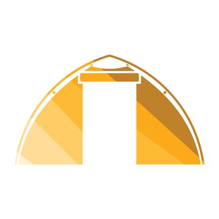 Touristic tent icon. Flat color design. Vector illustration.