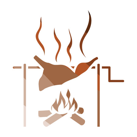 Roasting meat on fire icon. Flat color design. Vector illustration.