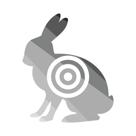 Hare silhouette with target icon. Flat color design. Vector illustration.