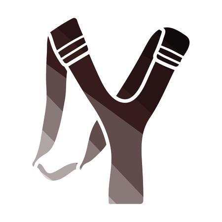 Icono de tirachinas de caza. Diseño de color plano. Ilustración vectorial.