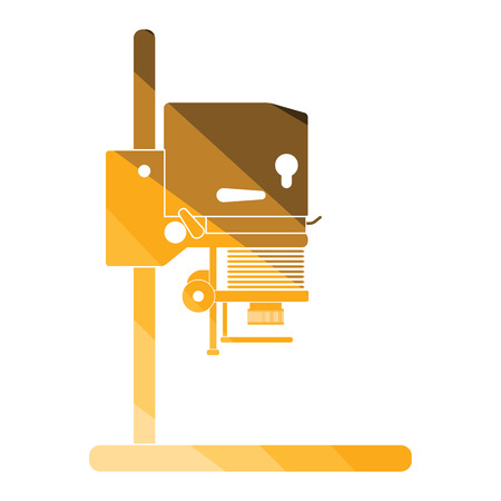 Icon of photo enlarger. Flat color design. Vector illustration.
