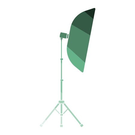 Icon of softbox light. Flat color design. Vector illustration.