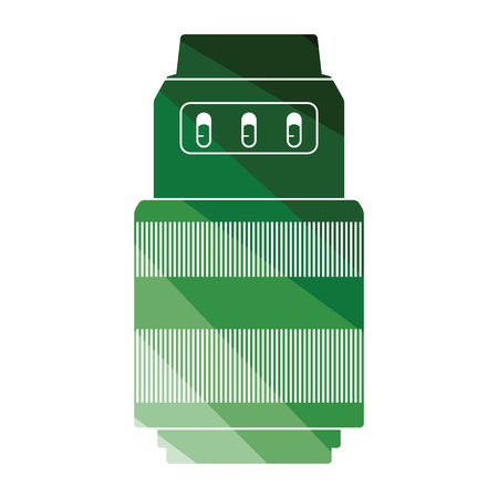 Icon of photo camera zoom lens. Flat color design. Vector illustration.