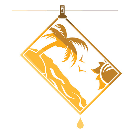 Icon of photograph drying on rope. Flat color design. Vector illustration. Illustration