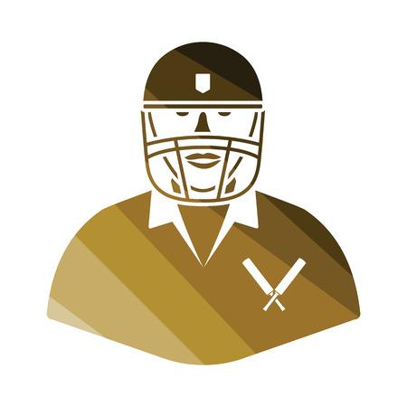 Cricket player icon. Flat color design. Vector illustration.
