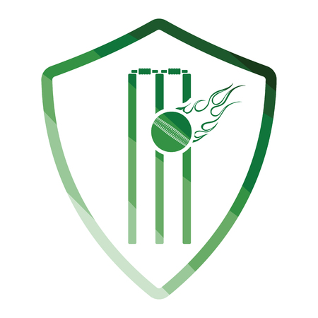 Cricket shield emblem icon. Flat color design. Vector illustration.