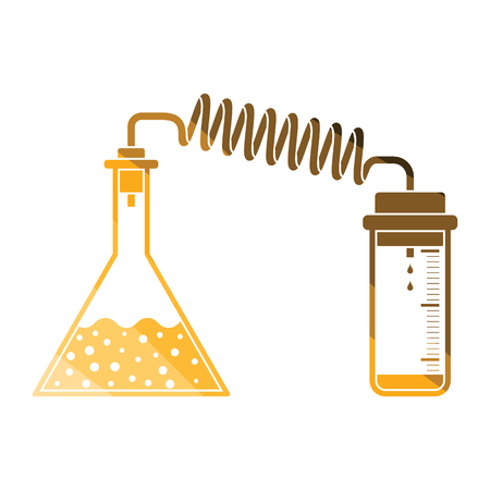 Icon of chemistry reaction with two flask. Flat color design. Vector illustration.