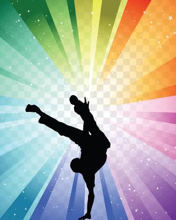 Hip hop dancer on colorfull background. Vector illustration with transparency. Illustration