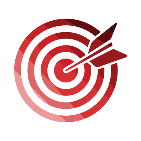 Target with dart in bulleye icon. Flat color design. Vector illustration.