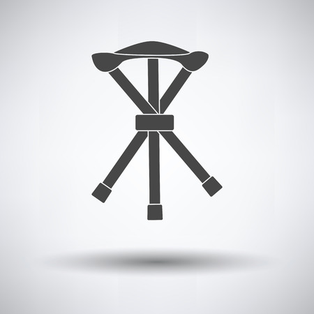 Icon of Fishing folding chair on gray background, round shadow. Vector illustration. Vettoriali