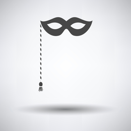 Party carnival mask icon on gray background, round shadow. Vector illustration.
