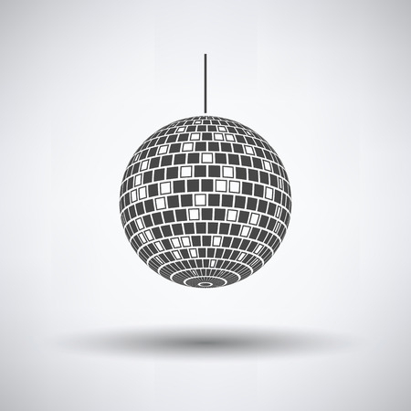 Party disco sphere icon on gray background, round shadow. Vector illustration.