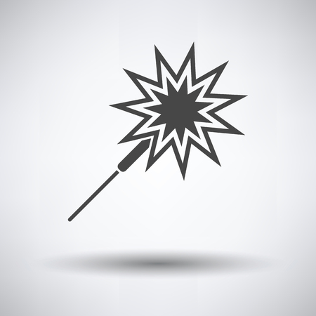 Party sparkler icon on gray background, round shadow. Vector illustration.