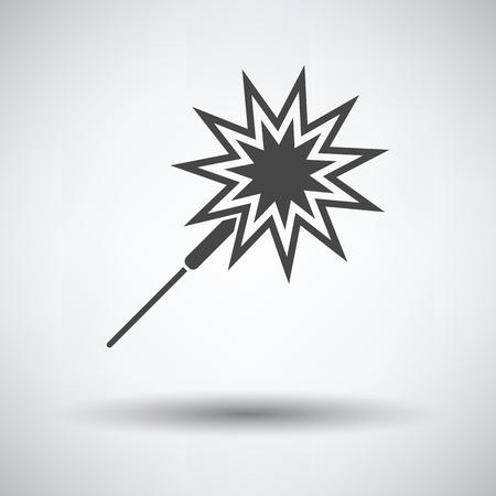 Icono de bengala de fiesta sobre fondo gris, sombra redonda. Ilustración vectorial.