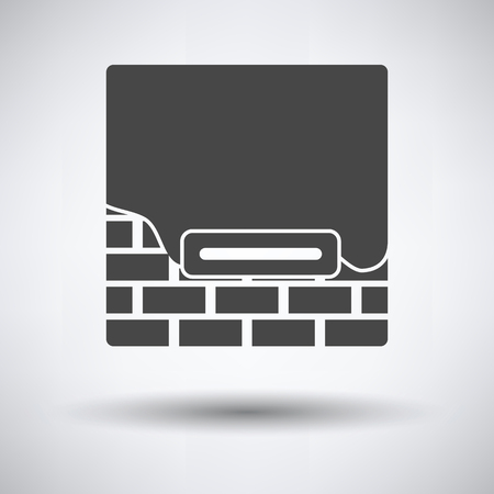 Icon of plastered brick wall  on gray background, round shadow. Vector illustration.