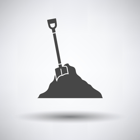 Icon of Construction shovel and sand on gray background, round shadow. Vector illustration. Illustration