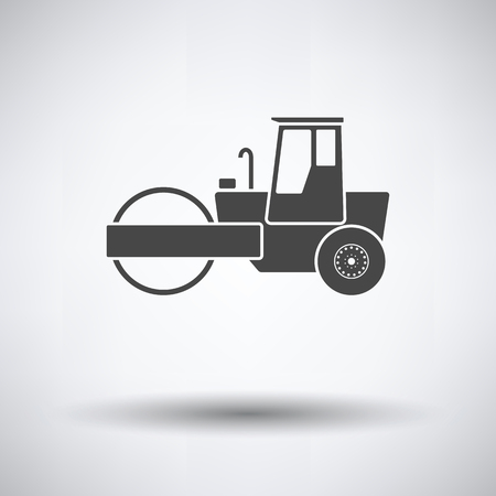 Icon of road roller on gray background, round shadow. Vector illustration. Vectores