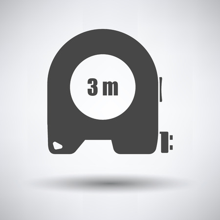 Icon of constriction tape measure on gray background, round shadow. Vector illustration.