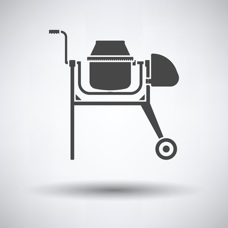 Icon of Concrete mixer on gray background, round shadow. Vector illustration.