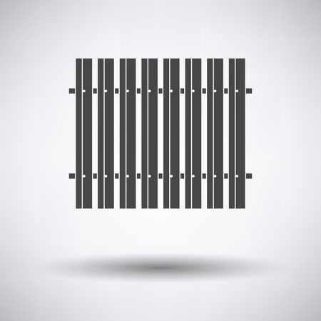 Icon of Construction fence  on gray background, round shadow. Vector illustration.