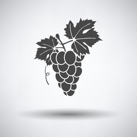 Icon of Grape on gray background, round shadow. Vector illustration. Ilustração