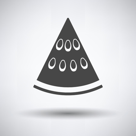 Icon of Watermelon on gray background, round shadow. Vector illustration.