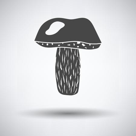 Mushroom  icon on gray background, round shadow. Vector illustration.