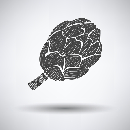 Artichoke icon on gray background, round shadow. Vector illustration. Иллюстрация