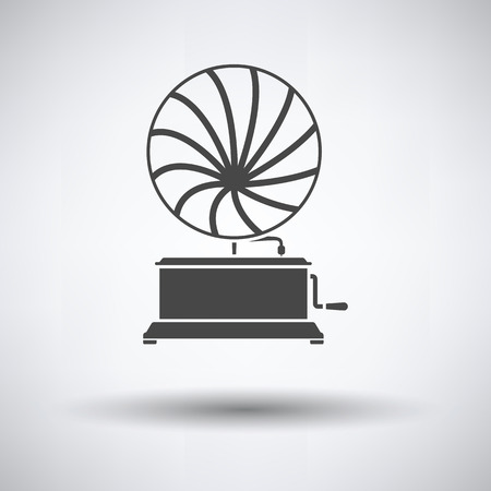 Gramophone icon on gray background, round shadow. Vector illustration.
