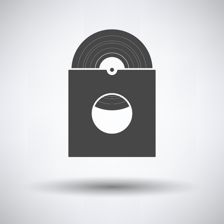 Vinyl record in envelope icon on gray background, round shadow. Vector illustration.