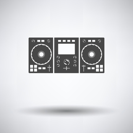 DJ icon on gray background, round shadow. Vector illustration.