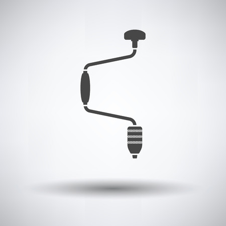 Auger icon on gray background, round shadow. Vector illustration.