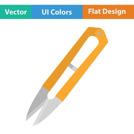 Seam ripper icon. Flat color design. Vector illustration.