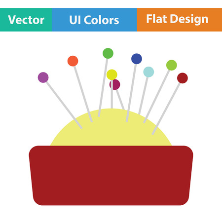 Pin cushion icon. Flat color design. Vector illustration.