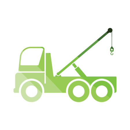 Car towing truck icon. Flat color design. Vector illustration. Ilustração
