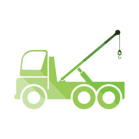 Car towing truck icon. Flat color design. Vector illustration. Illustration