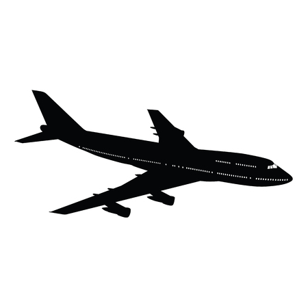Airplane silhouette on white background. Vector illustration. Фото со стока - 103505717