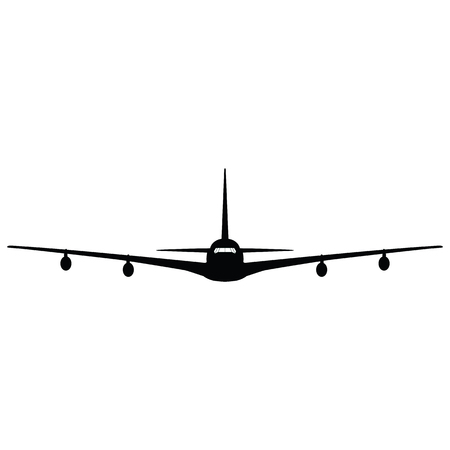 Airplane silhouette on white background. Vector illustration. Imagens - 103505714