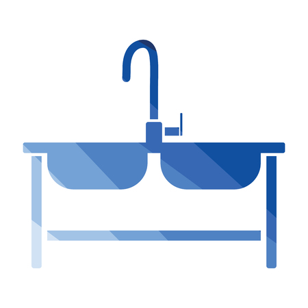 Double sink icon. Flat color design. Vector illustration.