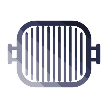 Grill pan icon. Flat color design. Vector illustration.