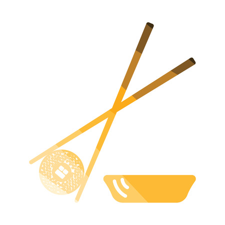 Sushi with sticks icon. Flat color design. Vector illustration.
